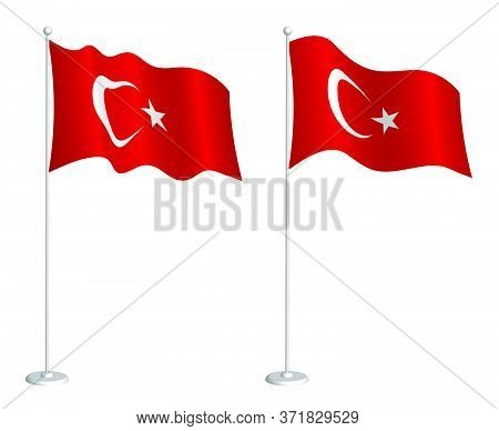 Flag Of Turkish Republic On Flagpole Waving In The Wind. Holiday Design Element. Checkpoint For Map