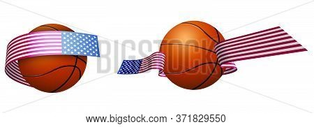 Balls For Basketball In Ribbons With The Colors Of American Flag. Design Element For Basketball Comp
