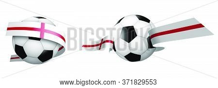 Balls For Soccer, Classic Football In Ribbons With Colors Of English Flag. Design Element For Footba