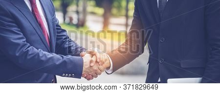 Business People Shake Hands Together With Trust Promise Concept. Honest Lawyer Partner With Professi