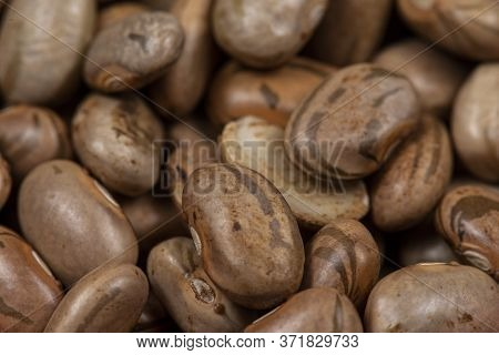 Raw Carioca Beans, Seen From Above, Legume. Also Known As Frijol Pinto, Selective Focus.