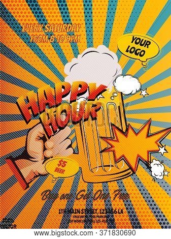 Pop Art Happy Hours Flyer, Banner Or Template Design With Beer Mug Icons And Geometric Shapes On Gru