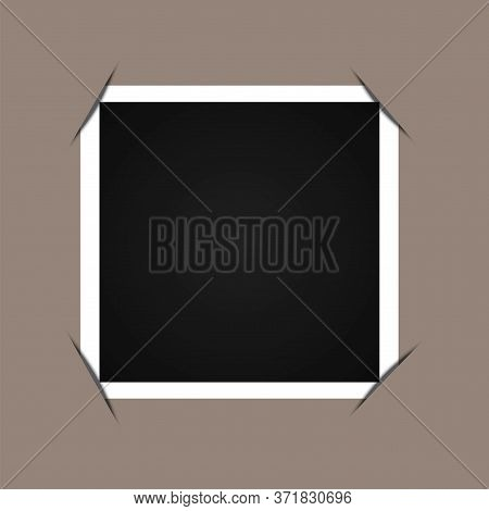 Photo Framed With Tucked Corners. Paper Blank Picture. Spectacular Grunge Image.