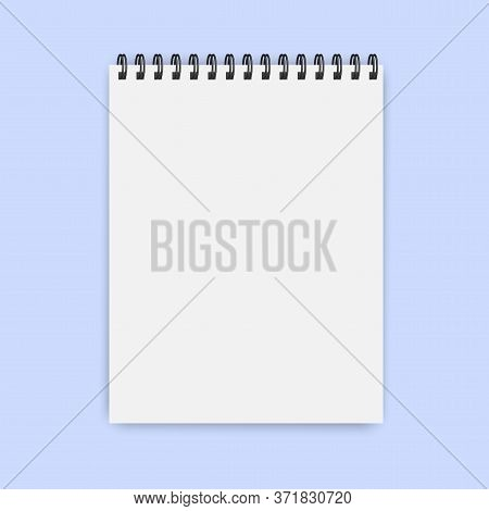 Blank Notepad Or Notebook On A Spiral. Vertical Book For Notes. Vector Isolated Mocap Pad Image.
