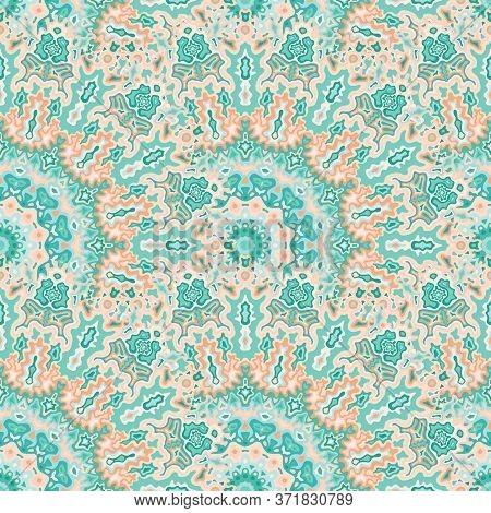 Kaleidoscope Floral Seamless Pattern. Arabic Folk Vector Composition. Intricate Bohemian Peacock Geo