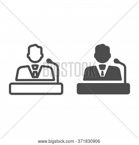 Speaker Line And Solid Icon, Business Communication Concept, Lecturer Sign On White Background, Orat