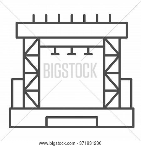 Outdoor Concert Stage Thin Line Icon, Music Festival Concept, Scene Sign On White Background, Concer