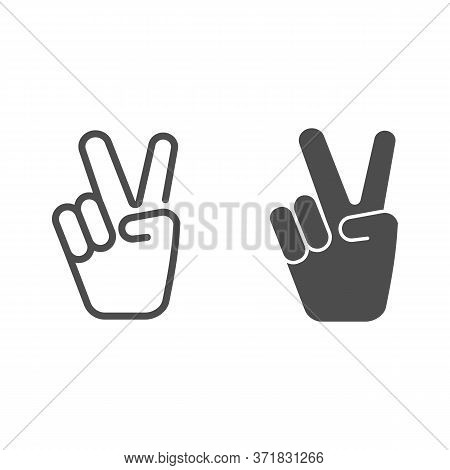 Hand Shows Victory Sign Line And Solid Icon, Hand Gestures Concept, Victory Sign On White Background