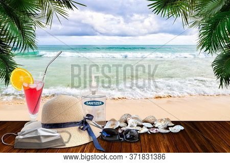 Vacationing In The New Normal After Covid-19 Coronavirus Pandemic. Tourism Concept Showing Beach Wit