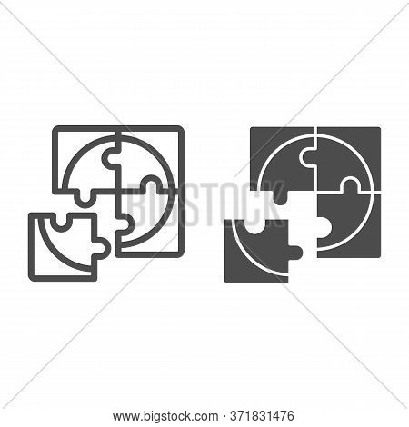 Four Puzzle Pieces Line And Solid Icon, Business Solution Concept, Jigsaw Puzzles Sign On White Back