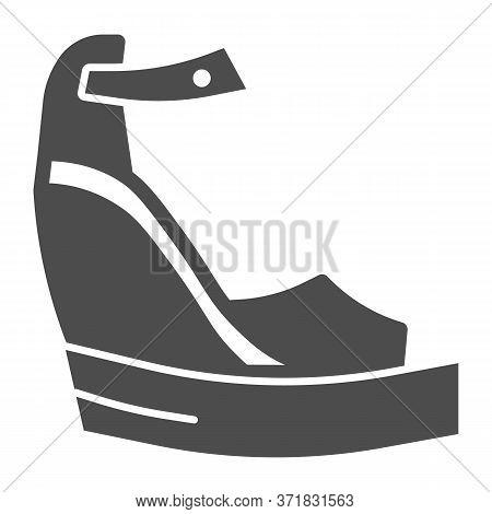 Platform Shoes Solid Icon, Summer Concept, Women Fashionable Sandal On High Platform Sign On White B