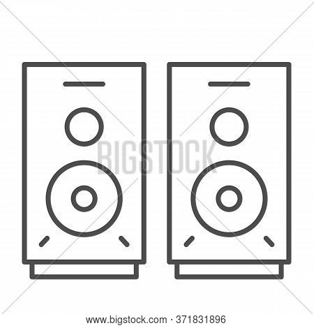 Speakers Thin Line Icon, Media Concept, Audio Speaker Sign On White Background, Stereo Speakers Icon