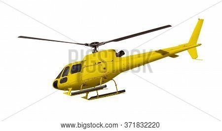 Yellow Helicopter Isolated On White. Photo With Clipping Path.