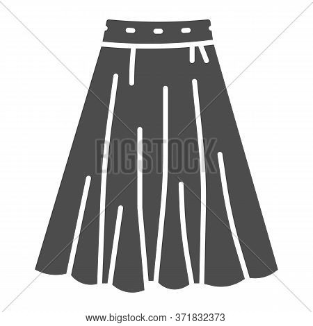 Skirt Solid Icon, Clothes Concept, Long Elegant Women Skirt Icon On White Background In Glyph Style