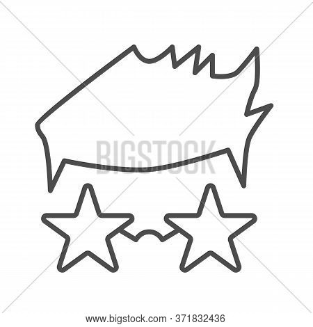 Person In Star Glasses Thin Line Icon, Music Festival Concept, Star Singer In Glasses Sign On White