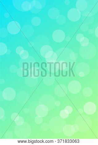 White Bokeh Transparent Circle Shapes With Green Nature Background, Vertical Bokeh, Vector Illustrat