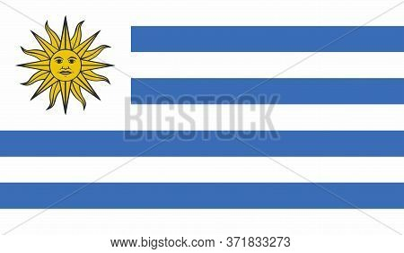 Uruguay Flag, Official Colors And Proportion Correctly. National Uruguay Flag. Vector Illustration.