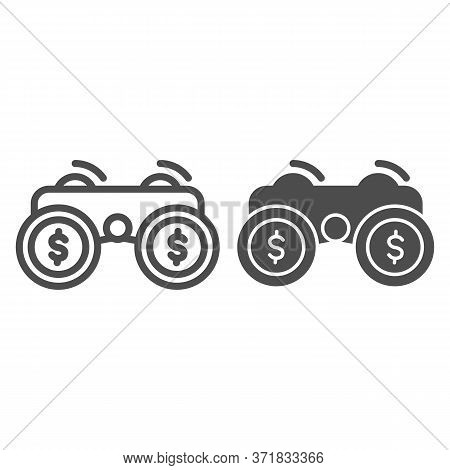 Financial Solutions Binoculars Line And Solid Icon, Business Strategy Concept, Investment Decisions