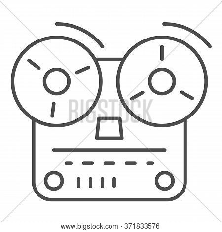 Tape Recorder Thin Line Icon, Music Concept, Old Reel Tape Recorder Sign On White Background, Open R