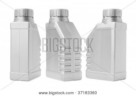 Three Plastic Containers on White Background