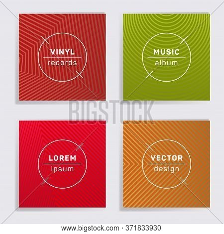 Retro Plate Music Album Covers Collection. Halftone Lines Backgrounds. Simple Plate Music Records Co