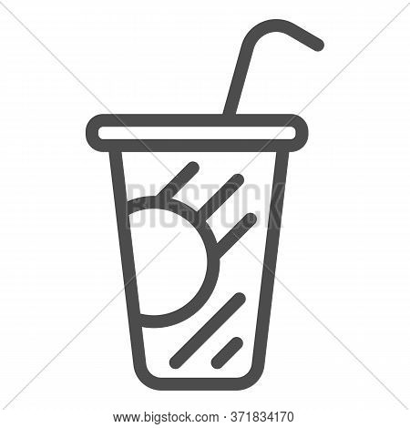 Coffee In Plastic Cup Line Icon, Drinks Concept, Disposable Cup With Lid And Straw Sign On White Bac