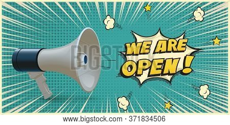 Open Advertisement. Announcing In Megaphone. Loudspeaker On Dotted Blue Vector Clipart. Speech Bubbl