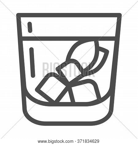 Iced Mojito Cocktail Line Icon, Summer Drinks Concept, Cold Drink With Ice Sign On White Background,