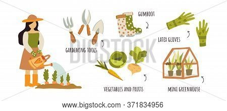 Cute Hand Drawn Flat Instructions On How To Water A Vegetable Garden From A Watering Can, Including