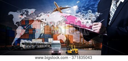 Business Logistics Concept, Global Business Connection Technology Interface Global Partner Connectio