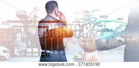 The Double Exposure Image Of The Businessman Using A Smartphone During Sunrise Overlay With Logistic
