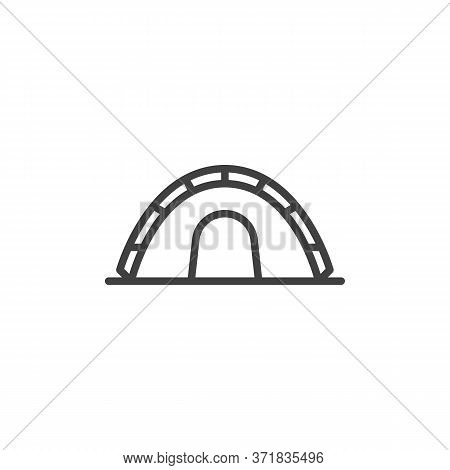 Camping Tent Line Icon. Linear Style Sign For Mobile Concept And Web Design. Tourist Tent Outline Ve