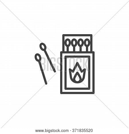 Open Matchbox With Matchsticks Line Icon. Linear Style Sign For Mobile Concept And Web Design. Match