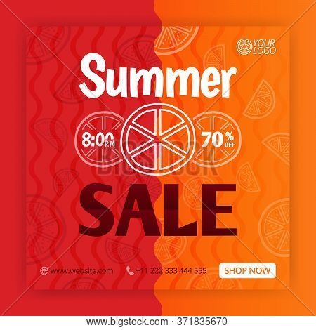 Summer Sale Social Media Post Template. Promotional Posters For Summer. Can Be Used For Online Media
