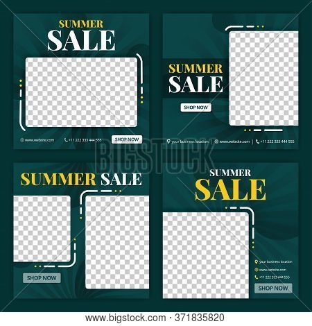 Social Media Post For Summer Sale In June. New Normal Sale In Summer Season Ads And Promotions. Soci