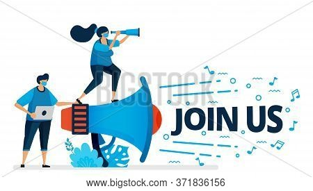 Vector Illustration Of Join Us Program For Employee Recruitment At New Normal And Pandemic. Worker H