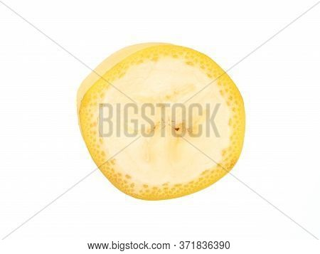 One Banana Slice, Unpeeled. Isolated On White Background With Clipping Path. Extreme Close Up, Studi