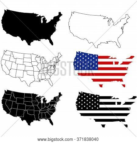 United States Of America Map. Set Usa Map.