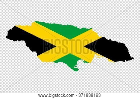 Jamaica Map With Flag Texture On  On Png Or Transparent Background, Illustration,textured , Symbols