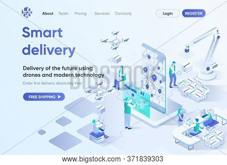 Smart Delivery Isometric Landing Page. Delivery By Quadcopter, Local Shipping Service, Online Tracki