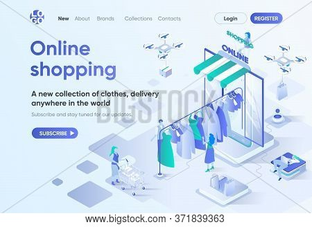 Online Shopping Isometric Landing Page. Online Shopping In Clothes Store And Global Delivery Service