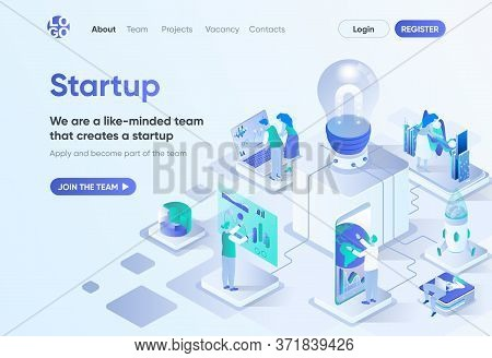 Startup Project Isometric Landing Page. Startup Founding, Business Idea Generation And Development.