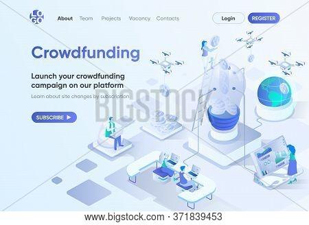 Crowdfunding Platform Isometric Landing Page. Crowdsourcing And Alternative Finance. Money Fundraisi