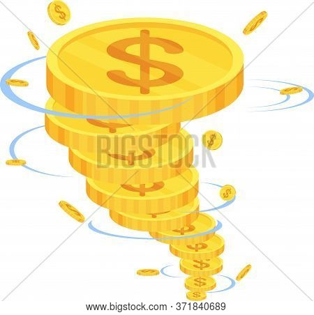 Money Funnel. Whirlwind, Tornado Of Gold Coins. Making Money Concept. Financial Management, Financia