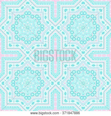 Retro Moroccan Zellige Tile Seamless Ornament. Ethnic Structure Vector Motif. Coverlet Print Design.