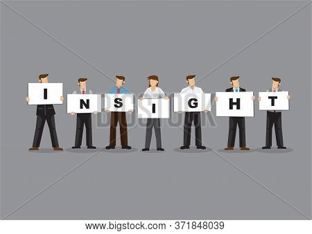 Illustration Of Business Man And Woman Holding White Board Cards Title Insight. Full Length On Grey