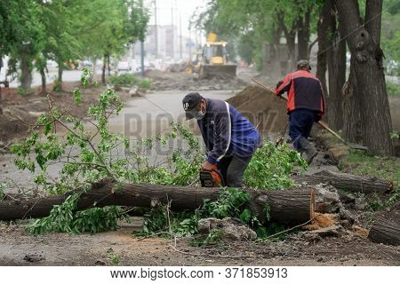 June 11, 2020, Russia, Magnitogorsk. Utility Workers Saw, Clean From The Street And Recycle The Tree