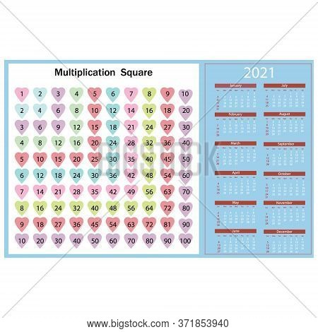 Calendar For 2021 With A Texture In The Form Of A Multiplication Table Of Colored Hearts, The Backgr