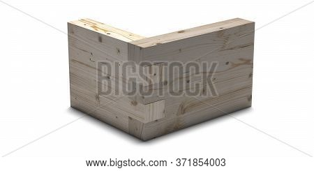 Wooden Box Joint Jig, Dovetail Connection Concept. Woodworking Of Corner Assembling Isolated On Whit