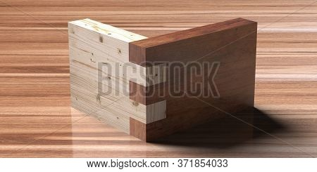 Wooden Box Joint Jig, Dovetail Connection Concept. Woodworking Of Corner Assembling On Wood. 3D Illu